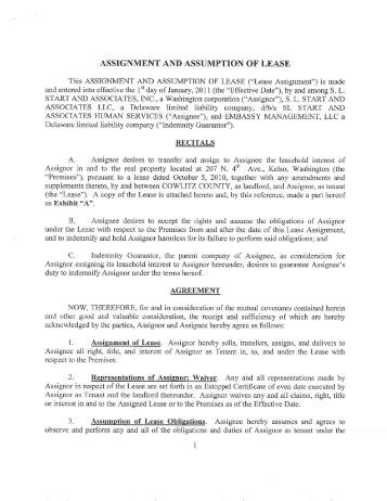 Agreement Of Assumption And Assignment Of Lease   Great American .