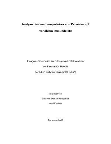 Analyse des Immunrepertoires von Patienten mit variablem