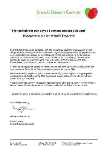 """""""Tvångsåtgärder och skydd i demensomsorg och vård"""""""