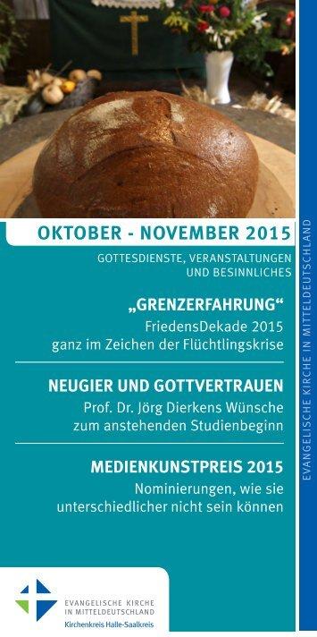 Programm des Evang. Kirchenkreises Halle-Saalkreis für Oktober - November 2015