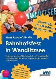Mehr Bahnhof für alle: Bahnhofsfest in Wandlitzsee - Veolia Transport