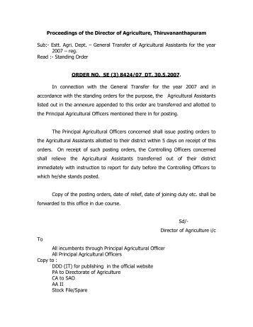Estt. Agri. Dept. – General Transfer of - kerala agriculture