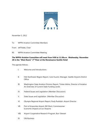 Aviation Committee Meeting Agenda
