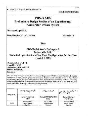 Work Package 4.2 Deliverable 11 - Technical Specification of ... - KIT