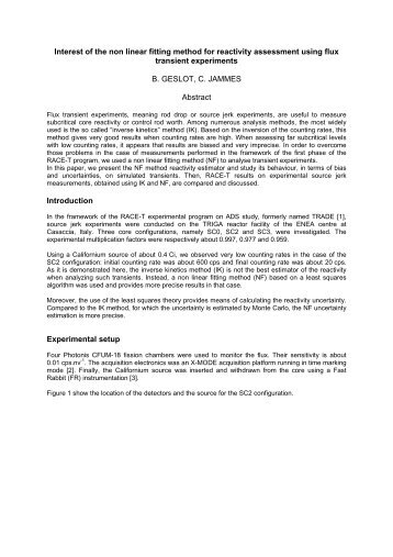 Interest of the non linear fitting method for reactivity assessment ... - KIT