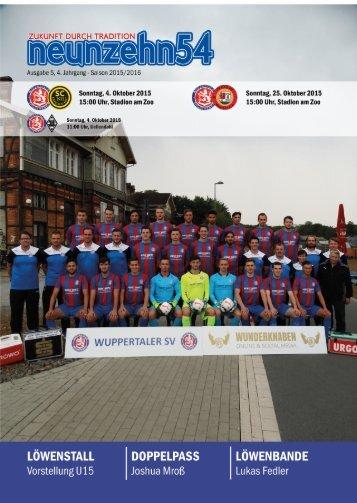 neunzehn54, Doppelausgabe SC Kapellen Erft - TV Kalkum-Wittlaer. Heft 3, Saison 2015/16