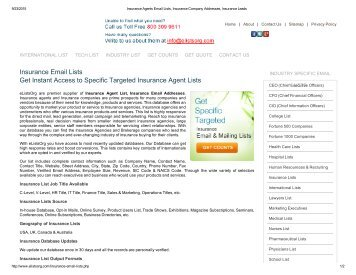 USA Insurance Agents email lists database from ElistsOrg