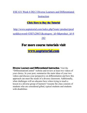 Ese 631 Week 6 Dq 2 Diverse Learners And Differentiated Instructionpdf