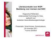 Literatuurstudie voor iKOP Beeldzorg voor mensen met NAH