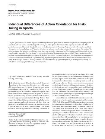 Individual Differences of Action Orientation for Risk- Taking in Sports