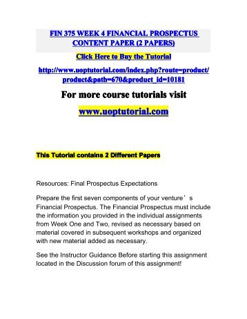 fin 375 week 5 financial prospectus Powerpoint slideshow about 'fin 375 academic coach/uophelp' - beautinice20 fin 375 week 5 financial prospectus completion paper (2 papers.
