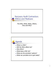 Recovery Audit Contractors (RACs) and Medicare Agenda