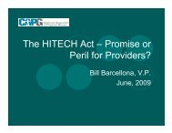 The HITECH Act – Promise or Peril for Providers?
