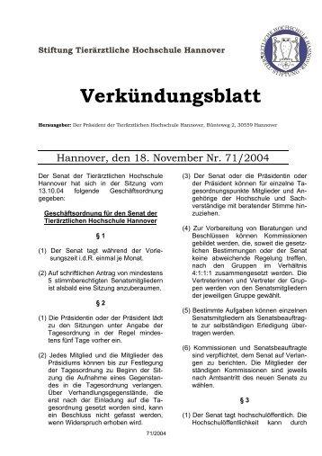 Stiftung Tierärztliche Hochschule Hannover Verkündungsblatt