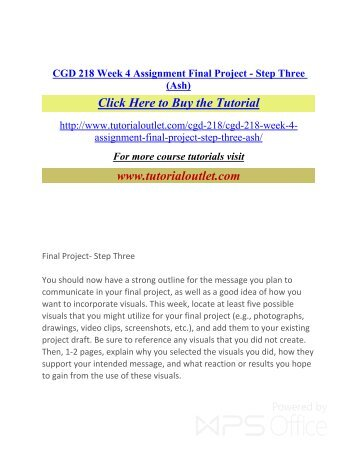 final project step two cgd 218 For more course tutorials visit wwwuoptutorialcom cgd 218 week 5  assignment final project using visuals to communicate a message final.