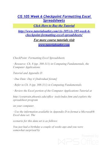 CIS 105 MENTOR Career Begins/cis105mentor.com