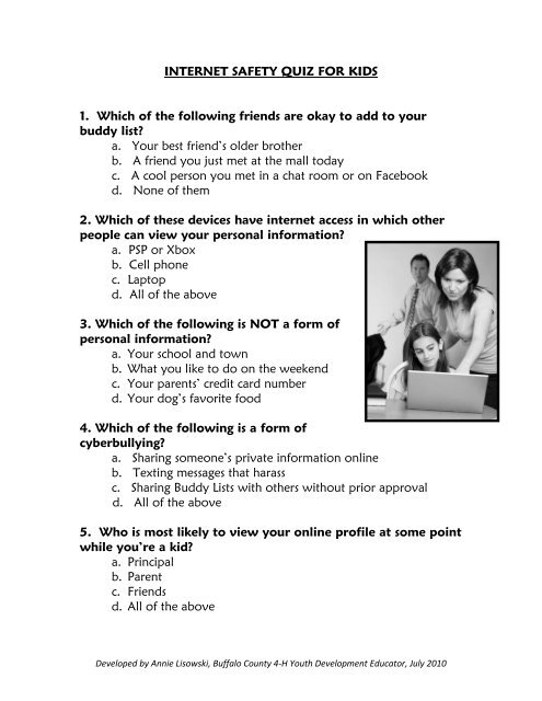 internet safety quiz for parents of young children - Buffalo