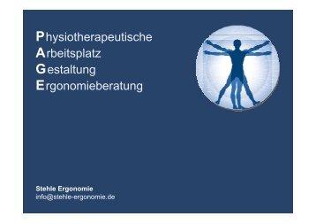 Physiotherapeutische Arbeitsplatz Gestaltung Ergonomieberatung