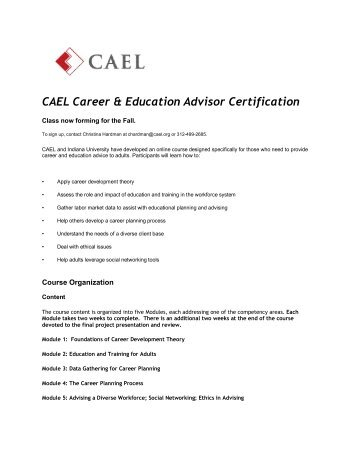 CAEL Career & Education Advisor Certification