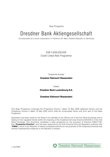 Dresdner Bank Aktiengesellschaft - Irish Stock Exchange