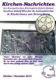 Kirchen-Nachrichten ev. Kirchspiel Erfurt Südost Okt.Nov. 2015
