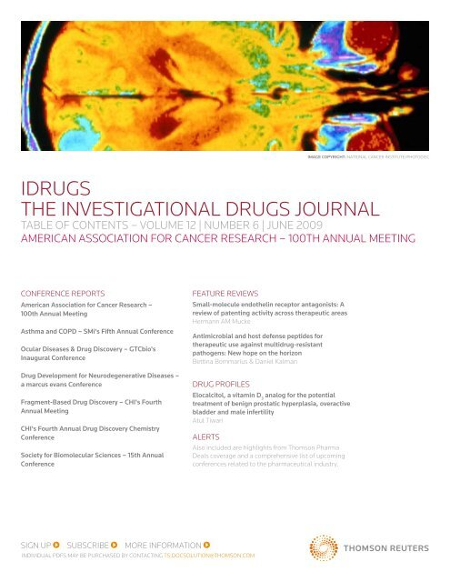 idrugS THE iNVESTigATiONAL drugS JOurNAL - Thomson Reuters