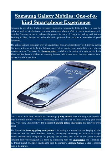 Samsung Galaxy Mobiles: One-of-a-kind Smartphone Experience