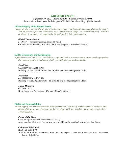 Workshop Descriptions