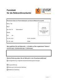 Formblatt für die ReferentInnenkartei