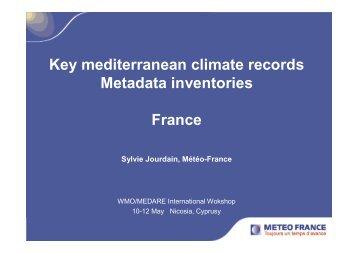 Key mediterranean climate records Metadata inventories France