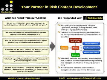 Your Partner in Risk Content Development