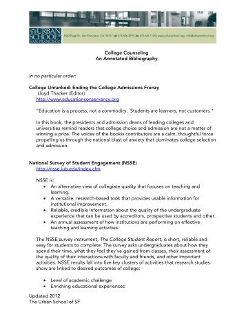 Updated 2012 The Urban School of SF College Counseling An ...