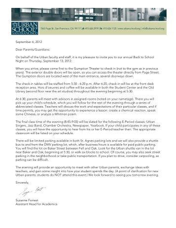 September 6, 2012 Dear Parents/Guardians: On ... - The Urban School