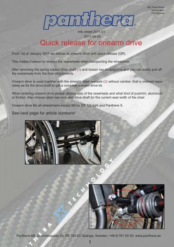 Quick release for onearm drive separately