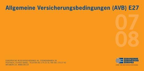 Allgemeine Versicherungsbedingungen (AVB) E27