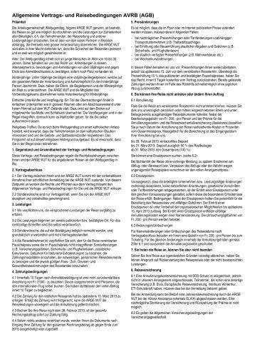 Allgemeine Vertrags- und Reisebedingungen AVRB (AGB)