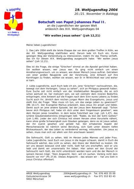 19 Weltjugendtag 2004 Botschaft von Papst Johannes Paul II