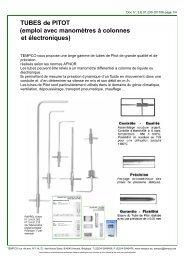 TUBES de PITOT (emploi avec manomètres à colonnes et électroniques)