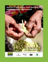 Journal of Agriculture Food Systems and Community Development