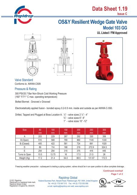 Data Sheet 1 19 OS&Y Resilient Wedge Gate Valve
