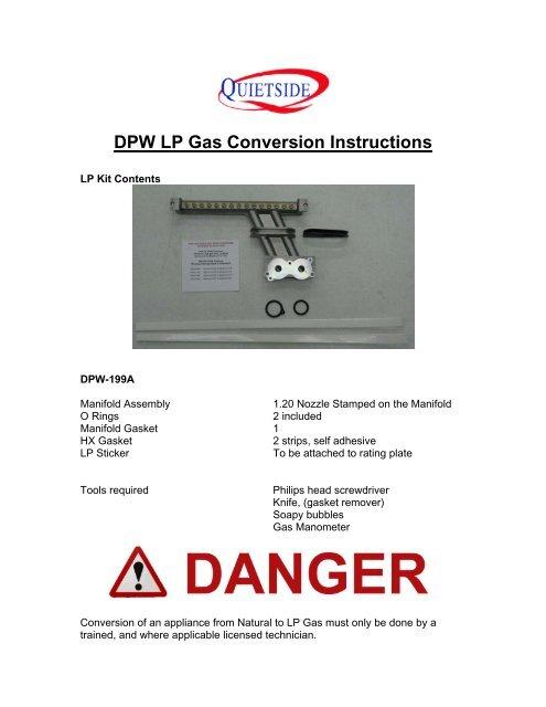 DPW LP Gas Conversion Instructions - Quietside