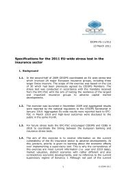 Specifications for the 2011 EU-wide stress test in the insurance sector