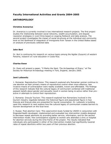 Faculty International Activities and Grants 2004-2005 ...