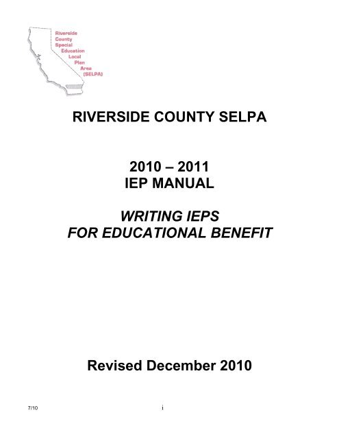 Providing Iep May Not Suffice If >> Riverside County Selpa 2010 2011 Iep Manual Writing