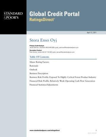 Standard & Poors Ratings Direct (12 April 2011 - Stora Enso