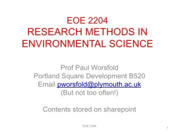 RESEARCH METHODS IN ENVIRONMENTAL SCIENCE