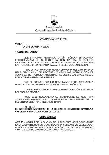 ORDENANZA - Municipalidad de Comodoro Rivadavia