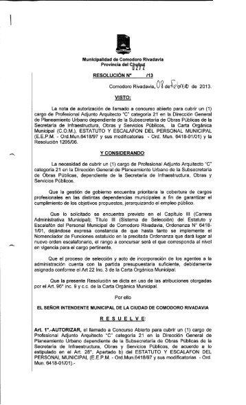 272/13 - Municipalidad de Comodoro Rivadavia