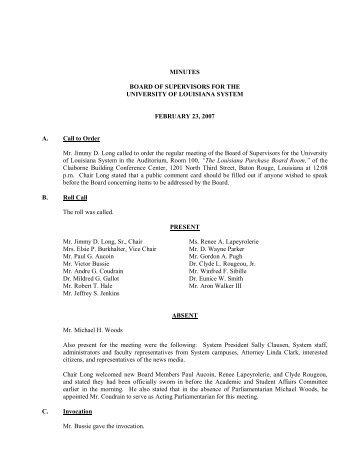BOARD MINUTES 2-23-07 - University of Louisiana System