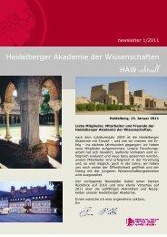 newsletter 1/2011 - Heidelberger Akademie der Wissenschaften ...